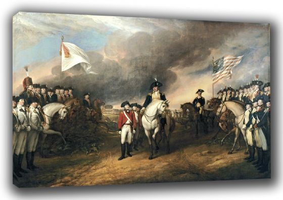 Trumbull, John: The Surrender of Lord Cornwallis at Yorktown, October 19, 1781. Historical/Military Fine Art Canvas. Sizes: A3/A2/A1 (0027)